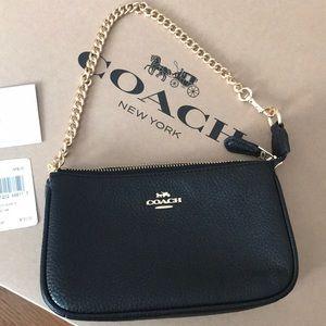 a5435fe4545 Coach Bags   Nwt Gold Chain Wristlet Black   Poshmark